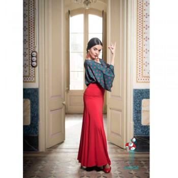 Falda de ensayo para baile flamenco. Modelo Cala con fajin