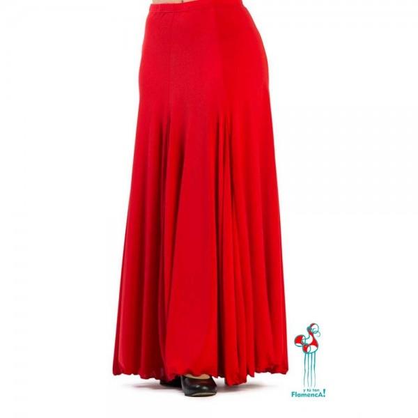 Falda de ensayo de baile flamenco. Modelo Cala, falda roja.