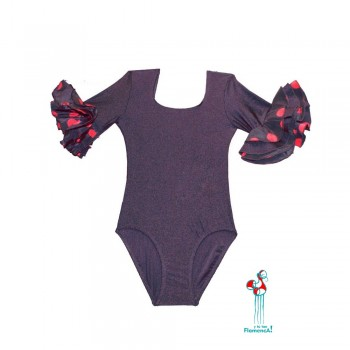 Body o maillot de flamenco con volantes en las mangas negro