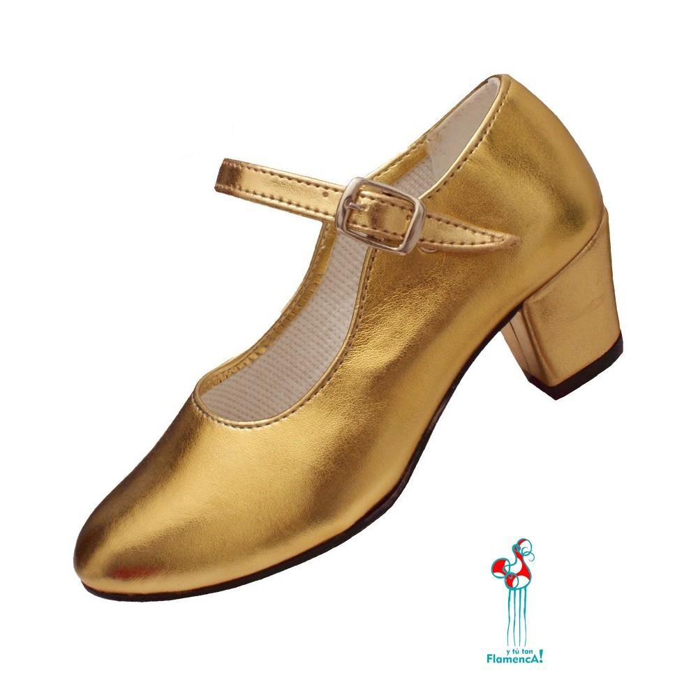 Zapato flamenco oro