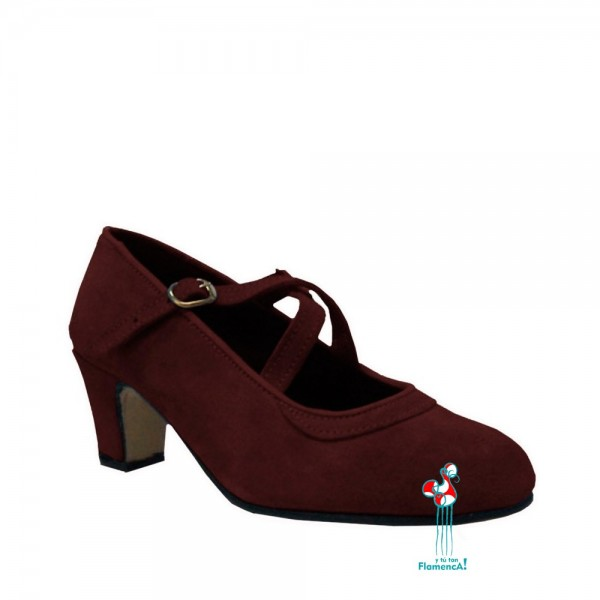 Zapato flamenco amateur marrón correas cruzadas