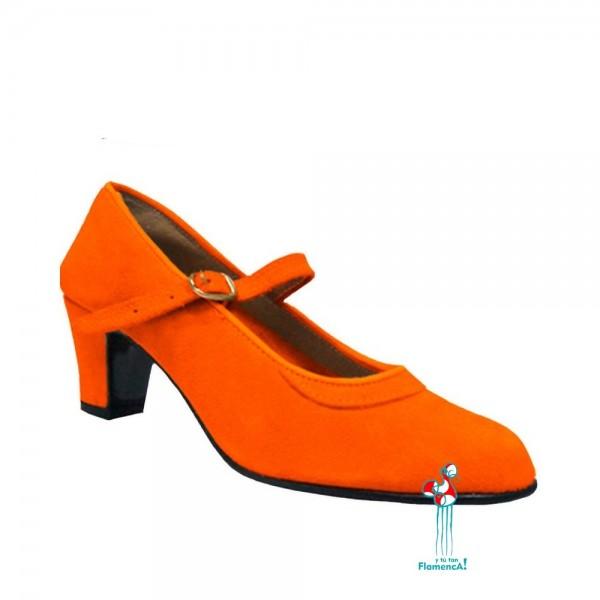 Zapato flamenco amateur naranja una correa