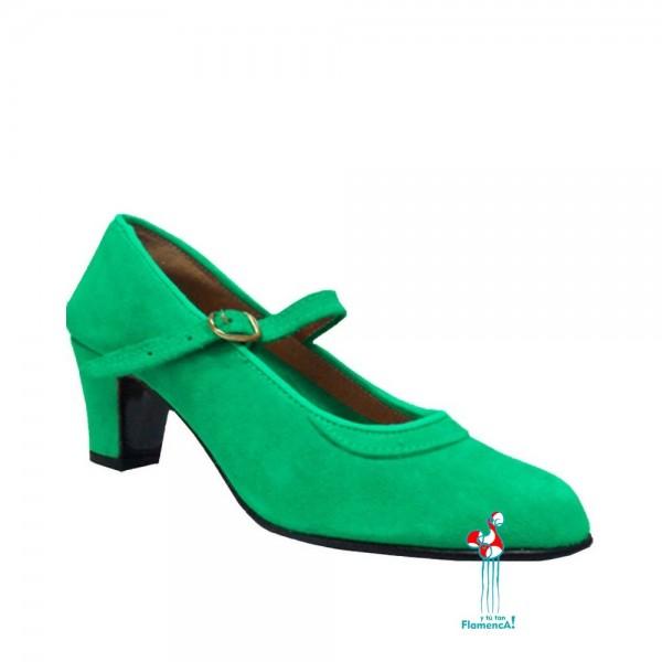 Zapato flamenca ante en verde