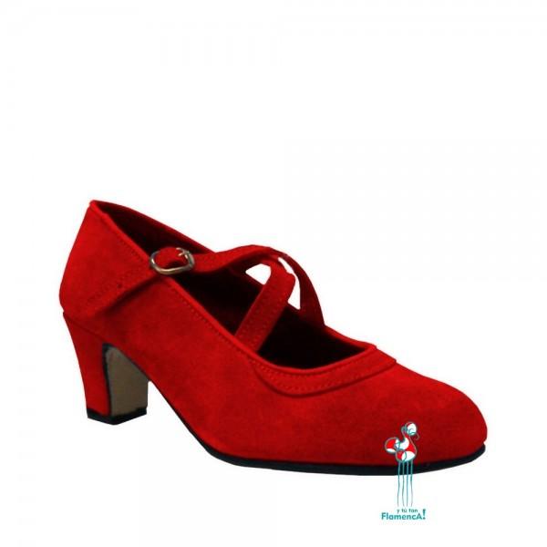zapato rojo en piel con dos correas cruzadas