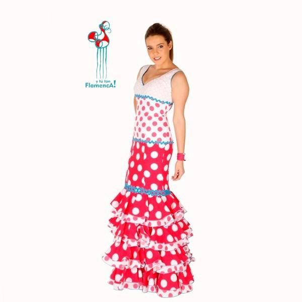Traje de flamenca  Carmen con detalles azules talla 40